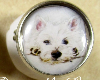 Westie Ring, West Highland White Terrier Jewelry, Westie Jewelry, Westie Gifts, Gift for Westie Mom, Westie Mom Gifts, Westie Stuff