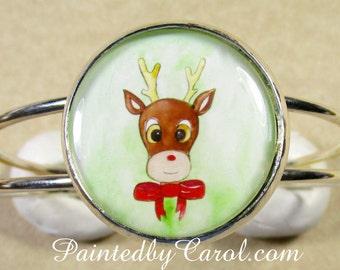 Reindeer Bracelet, Christmas Bracelet, Rudolph Bracelet, Christmas Jewelry, Reindeer Jewelry, Rudolph Jewelry, Christmas Cuff