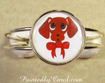 Dachshund Bracelet, Red Smooth Dachshund Jewelry, Wiener Dog Bracelet, Dachshund Cuff, Wiener Dog Jewelry, Dachshund Gifts, Doxie Gifts