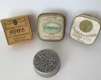 4 Antique French Miniature Face Powder Boxes,''Poudre de Perles Fines'' , ''Nymphea'', ''Cheramy''  and Roma,