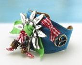 Gaudi.... Leather Bracelet....Gorgeous Funny  Bavarian Style Bracelet  Original by OceanBead