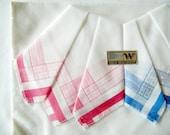 Set of 3 New unused German Vintage Cotton Handkerchiefs in White Pink & Blue Colours