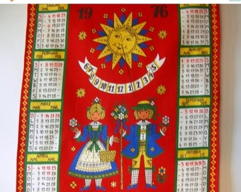 SUMMER SALE - German Vintage Folk Art Tea Towel Calendar from 1976  - for instant rustic Home Decor or Great Vintage Birthday Present idea
