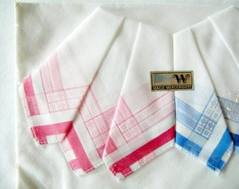 Set of 3 New unused German Vintage Cotton Handkerchiefs in White Pink & Blue Colours