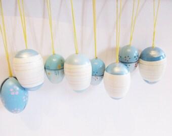 Set of 8 p  German Vintage wooden Blue Egg Ornaments for Easter Home Decor