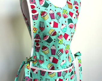 Bake Me a Cupcake Cobbler Smock Style Apron with white trim