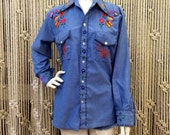 Amazing 1970's butterfly embroidered chambray shirt