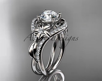 Unique 14kt white gold diamond leaf and vine wedding ring, engagement ring ADLR244