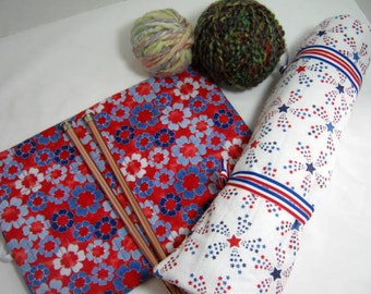 Patriotic Colors Quilted Needle Rolls Set for Crochet or Double Pointed and Straight Knitting Needles