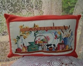 Pillow cushion cover Vintage watermelon upcycled woolen blanket, vintage cross stitch panel depicting shelf with antiques displayed.