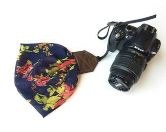 "Scarf Camera Wrist Strap - camera wrist strap - wristlet for dSLR digital cameras - navy floral (5"")"