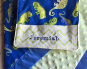 Personalized Baby Boy Handle Blankie Set, Pocket Burp Cloth Set, Blue and Green Lizards Flannel Print, Lime Green Minky