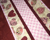 Valentine's Day Table Runner Quilt - Burgundy Red - Tan - Pink - Hearts Vintage-Look