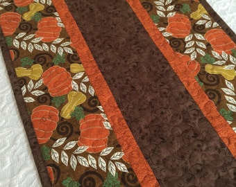 Fall Autumn Pumpkin Table Runner Quilt - Thanksgiving - Brown - Orange