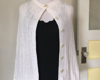 White Sweater Poncho with Lace Collar
