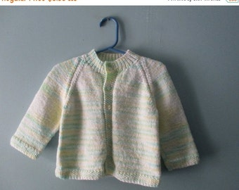 ON SALE Vintage handknit pastel cardigan sweater in Spring colours / baby girl knit jumper  / size 6 to 12 months