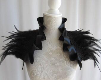 Satin Feather Stole Wrap Shrug Capelet Collar Shoulder Piece Black Gothic Burlesque Bohemian Halloween Witch