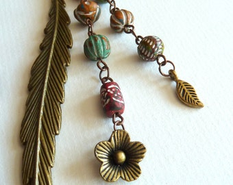 Bookmark, Antique Brass Bookmark with Handpainted Clay Beads, Feather Bookmark, Multi Colour Beaded Bookmark, Gift for Teacher