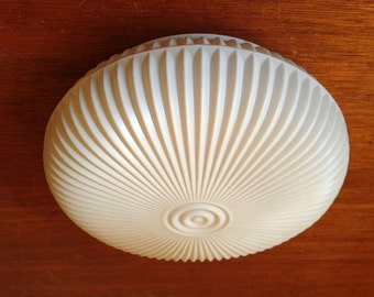 "Vintage 10"" MCM Ribbed Hugger Ceiling Light Fixture GLASS SHADE White Retro"