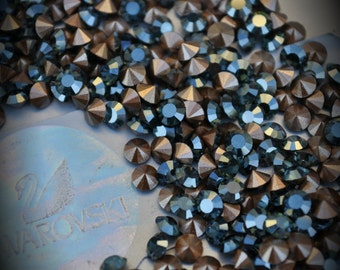 1012 30pp Genuine Swarovski Crystals Montana Champagne Coated Rounds Foiled Rhinestones 144pcs 1 Gross