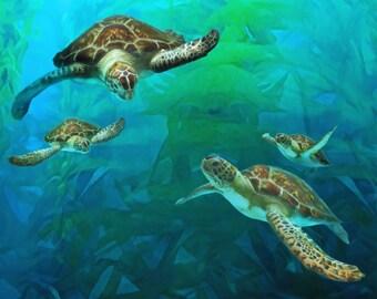Sea Turtle Family, Sea Turtles, Sea Turtle Canvas, Turtle Art, Sea Turtle Painting, Art Print, Beach Decor, Ocean Art, Large Canvas