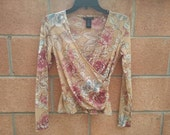 Floral sheer cross body style top size x small
