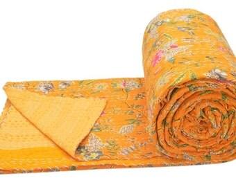 "Cotton Double Kantha Quilt Gudri Reversible Throw 90""x108"" Ralli Bedspread Bedding India AI12"