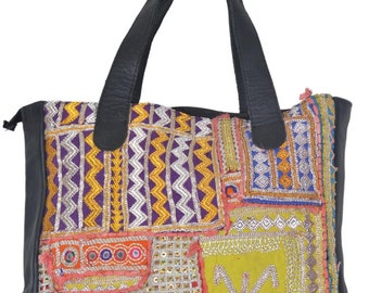 Big Vintage Banjara Leather Shopper Bags Hobo Tote Ethnic Tribal Gypsy BT6