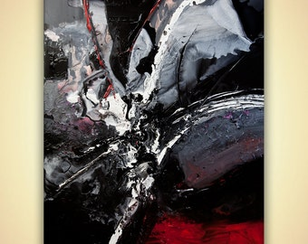"""Black White abstract painting on Canvas by Osnat Palette knife Art ready to hang wall decor modern art thick impasto paint 48""""x36"""""""