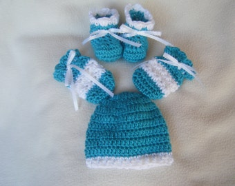 Crocheted Baby Hat, Mittens and Booties - Pick Any Colors You Want