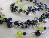 Navy Blue and Lime Green Wire Crochet Necklace Set, crocheted bead necklace, beaded jewelry