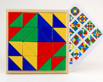 Developing geometrical wooden puzzle - Big triangle parade (for age 3 - 10 )