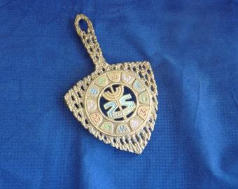 Vintage Judaica brass trivet with symbols of lost tribes, Israel, Hen Holon