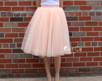 Claire - Blush Peach Tulle Skirt, Soft Tulle Skirt, Tea Length Tulle Skirt, Midi Tutu, Adult Tutu, Bridesmaids Skirt, Wholesale