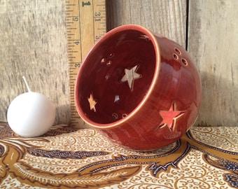Plum Star Pottery Luminary; Canlde Lantern; North Carolina Pottery by Dawn Tagawa; Ready to Ship