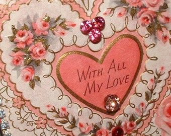 Vintage 1958 To My Wife With All My Love Framed Birthday Card  Embellished Jeweled Glittered Pink Roses Shabby Chic Cottage Charm
