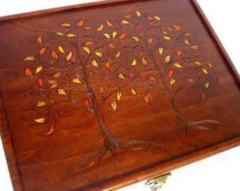 Two Trees, One Heart: Autumn Leaves, Large Wedding Keepsake Box, Memory Box, or Jewelry Chest
