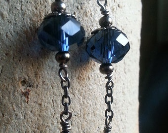 Midnight blue dangle/drop earrings with Czech glass and lapis lazuli beads