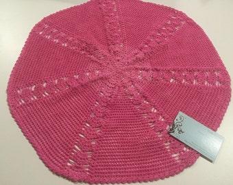Vintage 18 inch round Pink hand crochet doily for crafts, shabby chic, housewares, linen, trim, valentines, by MarlenesAttic