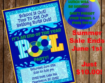 Pool Party Invitation and Cut Out Download - End Of The Year - Summer Splash Bash - Summer Sale