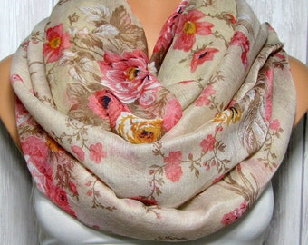 Rose Infinity Scarf for Women, Pink, Brown, Women's Floral Viscose Fabric Scarves, Spring Summer Fashion