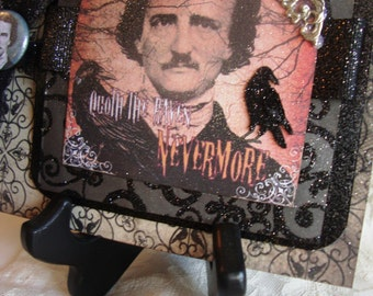 Extravagant Edgar Allan Poe~~~~ Pocket Card  ~~~  Quote The Raven Nevermore~~~