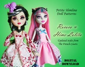 Rococo Hime Lolita Doll clothes pattern for Petite Slimline Fashion Doll: Monster High, Ever After High, Dal, Obitsu 23 & similar