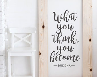 What You Think You Become - Buddha Quote - Vinyl Wall Decal Words