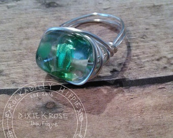Wire Ring/Wire Wrapped Ring/Green Ring/Green Wire Wrapped Ring/Handmade Ring/Handmade Jewelry