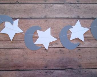 Star/Moon Paper Garland- Grey white-Twinkle Twinkle-Starry Garland-Baby Showers Garland-Shower Garland- Nursery Decor