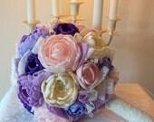 BOUQUET Bridal Bridesmaids Weddings Silk Brooch Flowers Bouquet, Pastel Colour Bouquet, Purple Pink Lilac Handmade Satin Flowers Bouquet