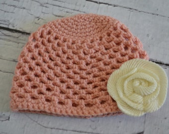 Crochet Mesh Stitch Baby Hat Pink with Ivory Flower 6-12 months