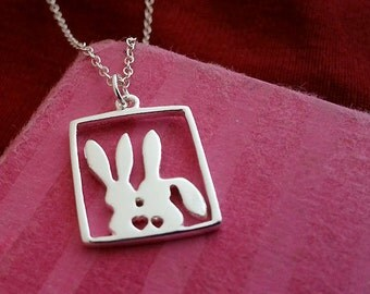 Love Necklace. Sterling Silver. Bunnies Pendant. Couple Necklace. Heart Charm. Valentines Day Gift