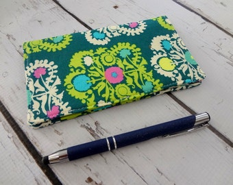 Cotton, Eco friendly checkbook cover, cotton cover, Amy Butler, floral, ready to ship